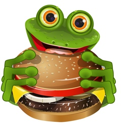 Frog with cheeseburger vector