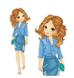 Girl Dressed In Denim Skirt And Shirt vector image vector image