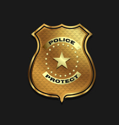 gold police badge isolated on black background vector image vector image