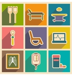 Icons of assembly medical themed icons in flat vector