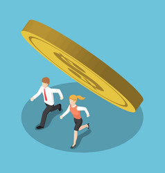 isometric business people running away from coin vector image