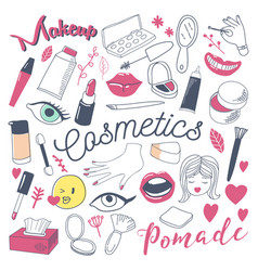 makeup and cosmetics beauty freehand doodle vector image vector image