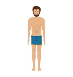 Men with blue swimming trunk vector