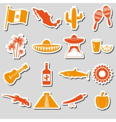 Mexico country theme symbols stickers set eps10 vector