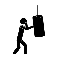 Monochrome graphic man knocking bag weight vector