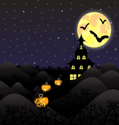 night landscape under a full moon on Halloween vector image