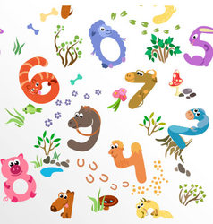 Numbers like farm animals seamless pattern vector image vector image