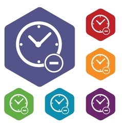 Reduce time hexagon icon set vector