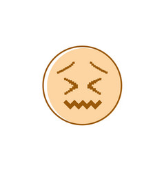 sad cartoon face negative people emotion icon vector image