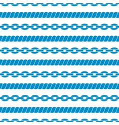 Seamless striped pattern with ropes and chains vector image