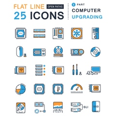 Set flat line icons upgrading computer vector