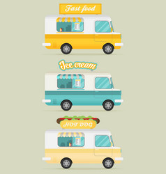 Set of color food truck street food truck concept vector