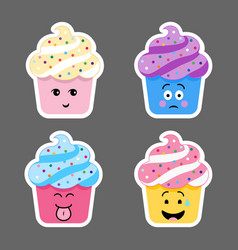 set of cupcake emojis icons vector image vector image
