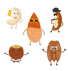 set of funny characters from nuts vector image vector image