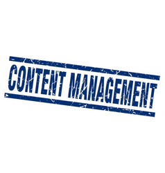 Square grunge blue content management stamp vector