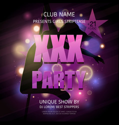 strip club party poster vector image vector image
