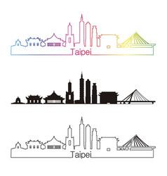 Taipei v2 skyline linear style with rainbow vector