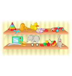 Toys shelf horizontal banner cartoon style vector