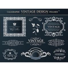 Vintage black frames ornament set element decor vector image vector image
