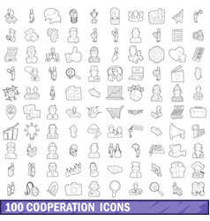 100 cooperation icons set outline style vector