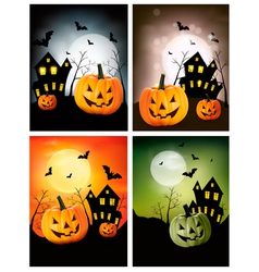 Four halloween backgrounds with pumpkins vector
