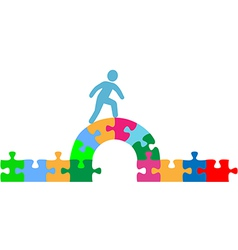 Person walking over puzzle bridge solution vector