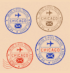 Collection of chicago postal stamps partially vector