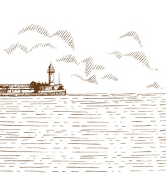 Hand drawn sea bay vector