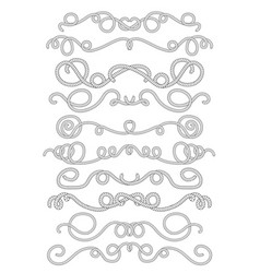 Rope text dividers in black and white summer vector