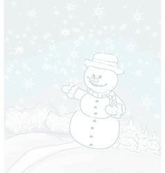 Happy snowman on winter landscape card vector