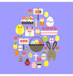 Easter flat icons set egg shaped over purple vector