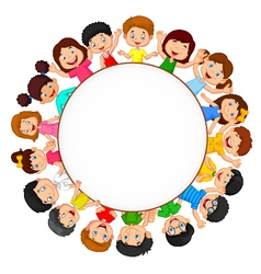 Crowd of children with blank space vector