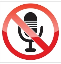 Microphone forbidden icon vector