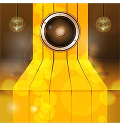 3d golden step with speaker and disco balls vector