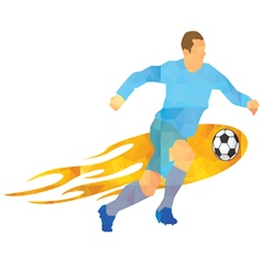 - soccer player kicks the ball vector