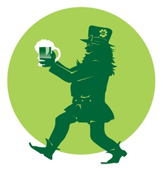 Leprechaun bringing beer vector