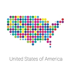 Usa map colored dotted design vector