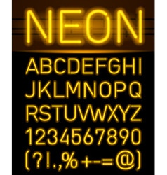 Neon font and symbols vector