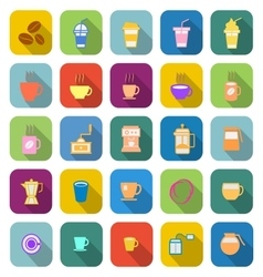 Coffee color icons with long shadow vector