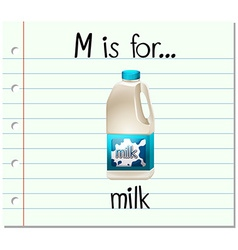 Flashcard letter m is for milk vector