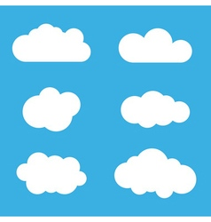 Cloud icons set white outline isolated vector
