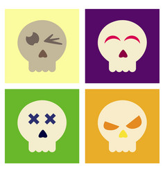 Assembly flat icons halloween emotion skull vector