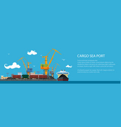 Banner with cargo seaport vector