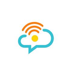 Chat communication cloud technology company logo vector