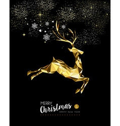 Christmas and New Year gold deer winter decoration vector image vector image
