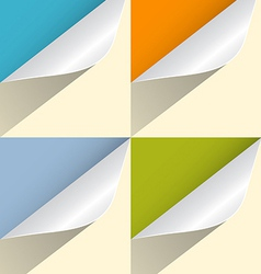 Colorful paper bent corners set vector