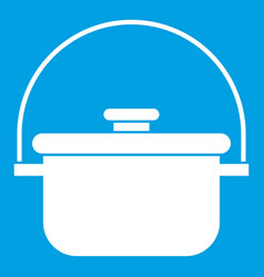 Cooking cauldron icon white vector