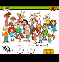 Counting girls and boys educational game vector