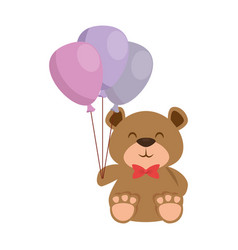 Cute bear teddy with balloons air vector