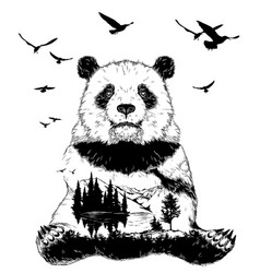 Double exposure panda bear and forest landscape vector